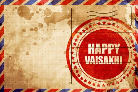 airmail stamp: happy vaisakhi, red grunge stamp on an airmail background