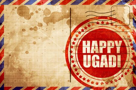 marathi: happy ugadi, red grunge stamp on an airmail background