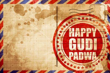 marathi: happy gudi padwa, red grunge stamp on an airmail background