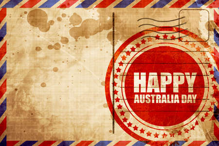 australia stamp: happy australia day, red grunge stamp on an airmail background Stock Photo