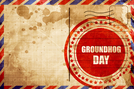 forecaster: groundhog day, red grunge stamp on an airmail background Stock Photo