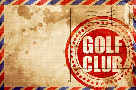 airmail: golf club, red grunge stamp on an airmail background