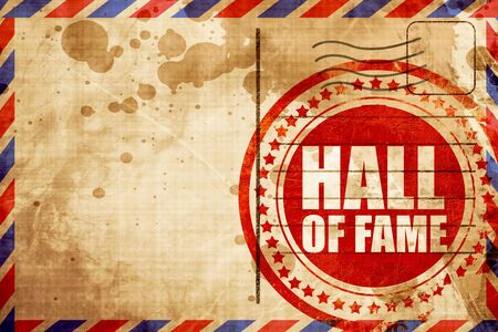 fame: hall of fame, red grunge stamp on an airmail background Stock Photo
