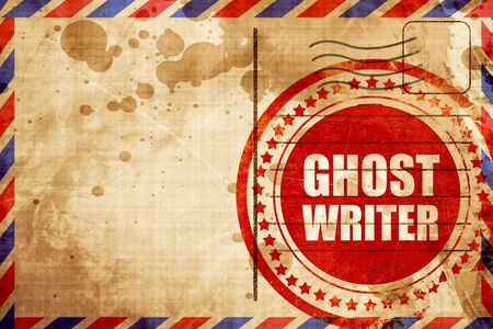 screenplay: ghost writer, red grunge stamp on an airmail background