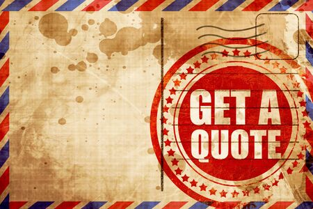 airmail: get a quote, red grunge stamp on an airmail background