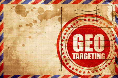 geo: geo targeting, red grunge stamp on an airmail background Stock Photo