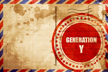 generation y: generation y word, red grunge stamp on an airmail background