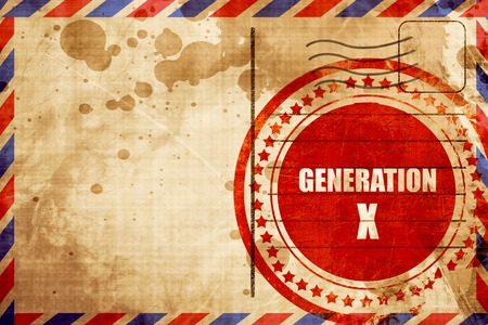 generation x: generation x word, red grunge stamp on an airmail background