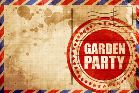 airmail: garden party, red grunge stamp on an airmail background Stock Photo