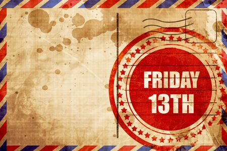 friday 13th, red grunge stamp on an airmail background