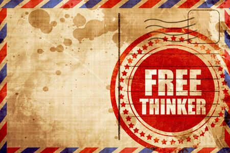 the thinker: free thinker, red grunge stamp on an airmail background Stock Photo