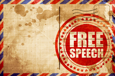 free speech: free speech, red grunge stamp on an airmail background