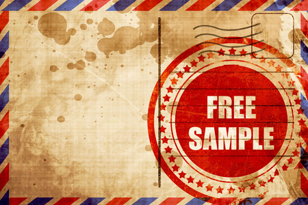 free sample: free sample sign with some soft smooth lines, red grunge stamp on an airmail background Stock Photo