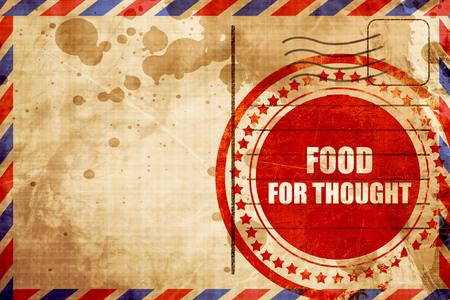alimento para el pensamiento, grunge sello rojo sobre un fondo de correo aéreo Foto de archivo