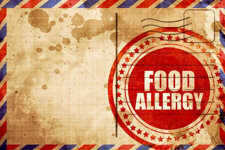 food allergy: food allergy, red grunge stamp on an airmail background Stock Photo