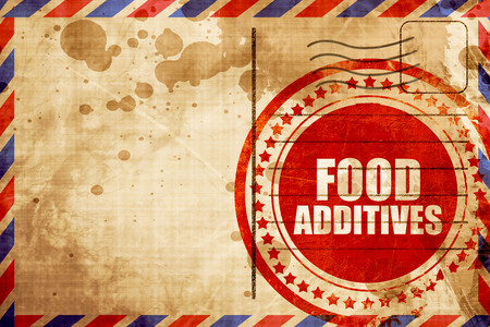 food additives, red grunge stamp on an airmail background