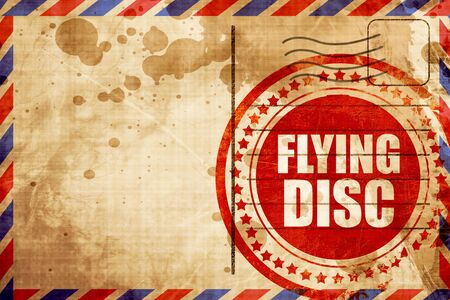 flying disc: flying disc, red grunge stamp on an airmail background Stock Photo