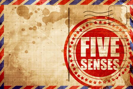 senses: five senses, red grunge stamp on an airmail background Stock Photo
