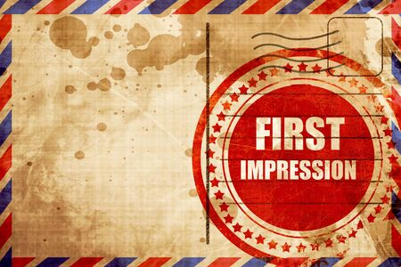 pioneering: first impression, red grunge stamp on an airmail background