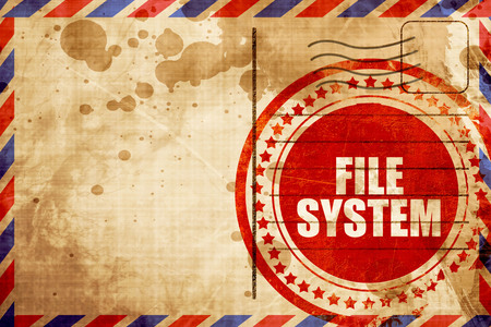 custom cabinet: file system, red grunge stamp on an airmail background Stock Photo