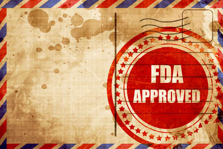 fda: FDA approved background with some smooth lines, red grunge stamp on an airmail background Stock Photo