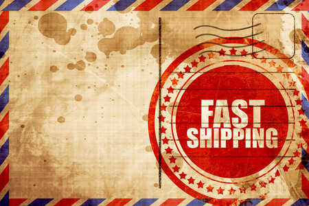 fast shipping: fast shipping, red grunge stamp on an airmail background