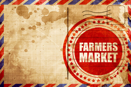 vegetabilis: farmers market, red grunge stamp on an airmail background
