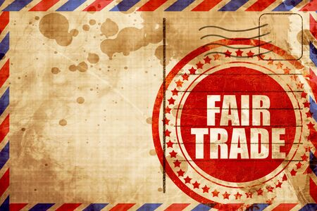 fairtrade: fair trade, red grunge stamp on an airmail background Stock Photo