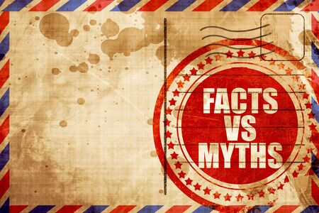 factual: facts vs myths, red grunge stamp on an airmail background