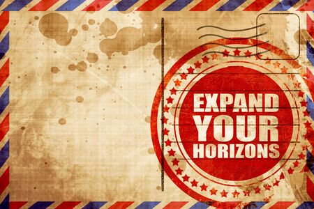 airmail: expand your horizons, red grunge stamp on an airmail background