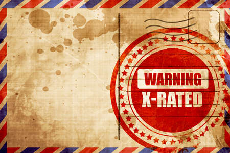 Xrated sign with some nice vivid colors, red grunge stamp on an airmail background Stock Photo