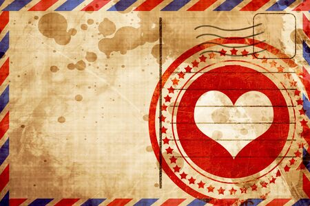 Hearts card background with some soft smooth lines, red grunge stamp on an airmail background Stock Photo