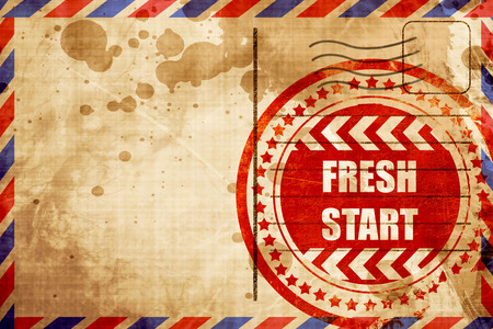 brighter: Fresh start sign with some smooth lines and highlights, red grunge stamp on an airmail background