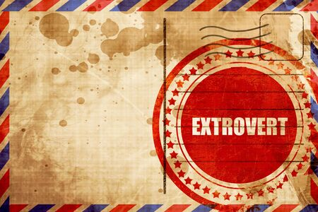 outspoken: extrovert, red grunge stamp on an airmail background