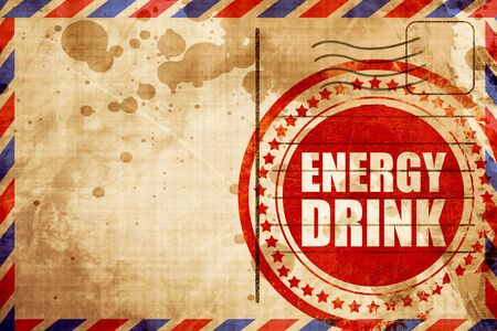 energy drink, red grunge stamp on an airmail background Stock Photo