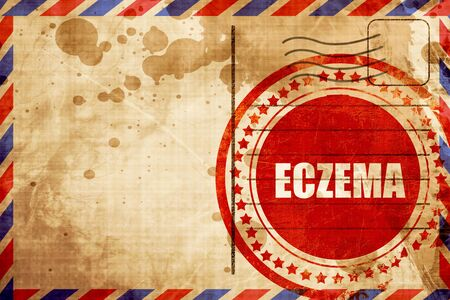 eczema: eczema, red grunge stamp on an airmail background