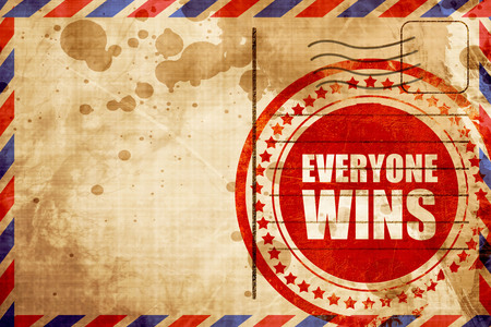 everyone: everyone wins, red grunge stamp on an airmail background