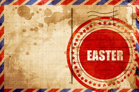 airmail stamp: easter, red grunge stamp on an airmail background