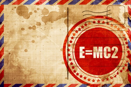 mc2: e=mc2, red grunge stamp on an airmail background