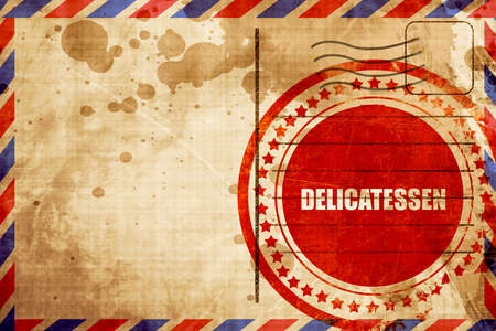 delicatessen: delicatessen, red grunge stamp on an airmail background