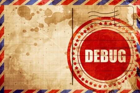 debug: debug, red grunge stamp on an airmail background Stock Photo