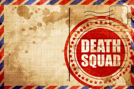 squad: death squad, red grunge stamp on an airmail background