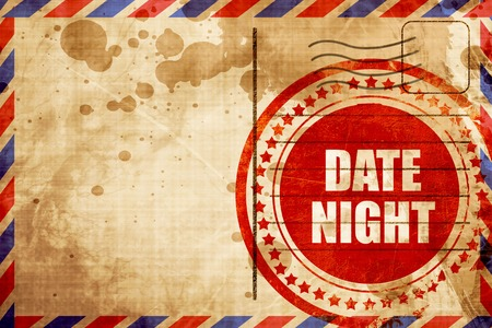 date night: date night, red grunge stamp on an airmail background