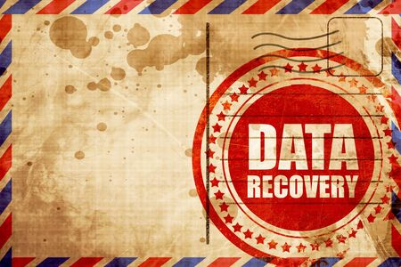 data recovery: data recovery, red grunge stamp on an airmail background