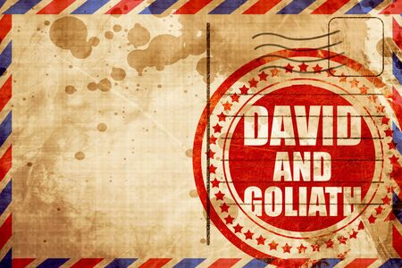 david and goliath: david and goliath, red grunge stamp on an airmail background Stock Photo