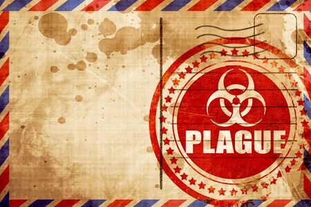 plague: plague concept background with some soft smooth lines, red grunge stamp on an airmail background