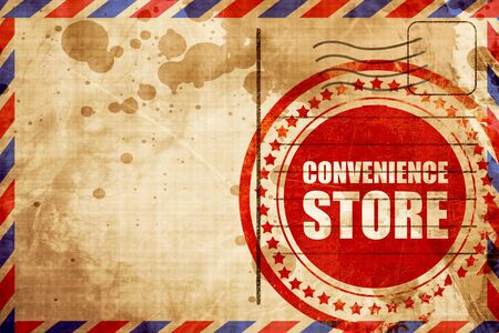 convenience store, red grunge stamp on an airmail background