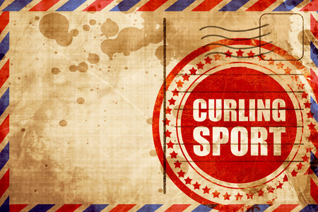 curling: curling sport, red grunge stamp on an airmail background