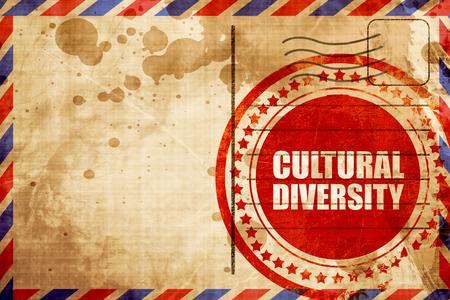 diversidad cultural: la diversidad cultural, grunge sello rojo sobre un fondo de correo aéreo Foto de archivo