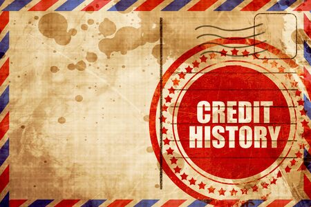 fico: credit history, red grunge stamp on an airmail background Stock Photo